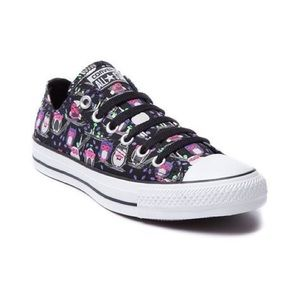 Owl Converse All Star Black and Purple Sneakers